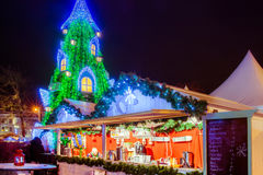 Christmas tree in Vilnius Lithuania 2015. And market hot of food royalty free stock photo