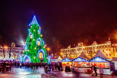 Christmas tree in Vilnius Lithuania 2015. And market hot of food stock images