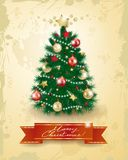 Christmas tree on vintage background Royalty Free Stock Photo