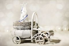 Christmas Tree in vintage car stock photo