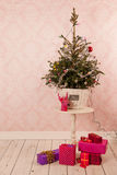 Christmas tree in vintage decor Stock Image