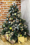 Christmas tree with vintage decoration Royalty Free Stock Image