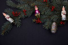 Christmas tree with vintage ornaments stock photo