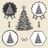 Christmas tree vintage symbol emblem label Royalty Free Stock Image