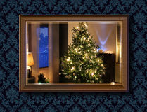 Christmas tree in wall mirror Stock Photography