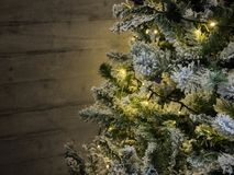 Christmas tree with warm lights, holiday time royalty free stock images
