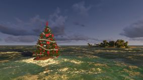 Christmas tree in the warm sea off the islands. Washed by the waves stock video
