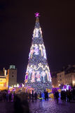 Christmas Tree in Warsaw at Night Stock Image