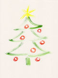 Christmas tree watercolor painting Royalty Free Stock Photography