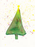 Christmas tree watercolor painting. A watercolor painting of a Christmas tree with star Stock Images