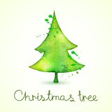 Christmas tree in watercolor trending style, Royalty Free Stock Images
