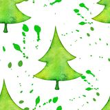 Christmas tree in watercolor trending style,. Isolated on white background, vector cute seamless pattern Stock Photos