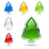 Christmas tree, web buttons set. Royalty Free Stock Image
