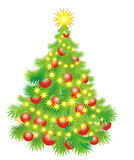 Christmas tree whit balls and garland. Vector royalty free stock image