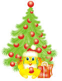 Christmas tree whit bunny. Vector illustration Royalty Free Stock Photos