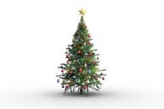 Christmas tree on white background. With copy space Stock Images