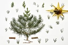 Christmas tree on a white background. New Year`s holiday.For iso. Lation Stock Images