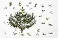 Christmas tree on a white background. New Year`s holiday.For iso. Lation Stock Photos