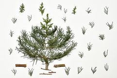 Christmas tree on a white background. New Year`s holiday.For iso. Lation Royalty Free Stock Images