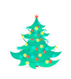 Christmas tree  on white background. Vector illustration. Stock Photos