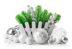 Christmas tree with white balls decoration Royalty Free Stock Photography