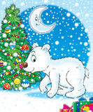 Christmas tree and white bear Royalty Free Stock Images