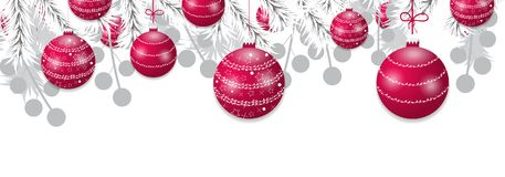 Christmas tree white branches with red balls. Holidays baubles decoration banner. Vector. Illustration Royalty Free Stock Image