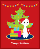 Christmas tree and white cat. Colorful  illustration of a cute cartoon white cat with Santa hat sitting on the carpet near the christmas tree and pile of Stock Photography