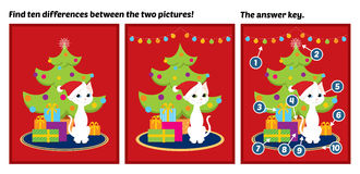 Christmas tree white cat find differences Royalty Free Stock Images
