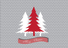 Christmas tree on white dot background,Design of merry christmas cards Stock Photography