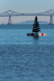 Christmas tree on a white float in San Franciso Bay Stock Photo