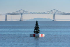 Christmas tree on a white float in San Franciso Bay Royalty Free Stock Image
