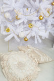 Christmas tree, white with gold balls, close-up Royalty Free Stock Photos