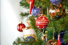 Christmas tree white and green colour and new year decoration in the department store. Christmas tree white and green colour and new  year decoration in the royalty free stock photos