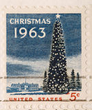 Christmas Tree White House. This is a Vintage 1963 Canceled US Stamp Christmas Tree White House Royalty Free Stock Photography