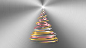 Christmas Tree From White, Pink And Yellow Tapes Over Metal Background. 3D Animation stock footage