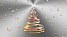 Christmas Tree From White, Pink And Yellow Tapes With Snowflakes Over Metal Background. 3D Animation stock video footage