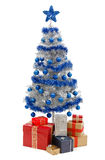Christmas tree on white with presents Stock Photography