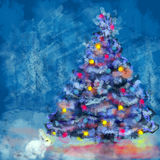 Christmas tree and white rabbit. Christmas tree and white rabbit in snow and winter background Stock Images