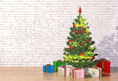 Christmas tree in white room Royalty Free Stock Photo