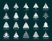 Christmas Tree white silhouette icons vector set. Christmas Tree silhouette icons set. Isolated web sign stylized spruce kit. Fir Farm pictogram collection stock illustration