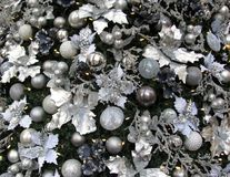 Christmas tree white, silver and blue decorations. Background Royalty Free Stock Photos