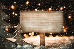 Christmas Tree, White Snow, Copy Space, Snowflakes, Sign royalty free stock images