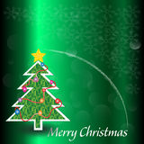 Christmas tree white snowflake and falling golden star on Royalty Free Stock Photo