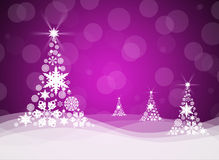 Christmas tree from white snowflakes. On magenta background Stock Photos
