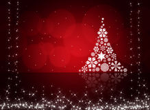 Christmas tree from white snowflakes Stock Images