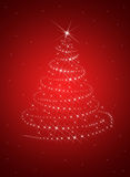 Christmas tree from white snowflakes. On red background Royalty Free Stock Photography