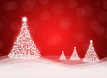 Christmas tree from white snowflakes. On red background Stock Images