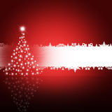 Christmas tree from white snowflakes. On red background Stock Photos