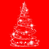 Christmas Tree. White Christmas tree with stars baubles and snowflakes isolated on red background Stock Images